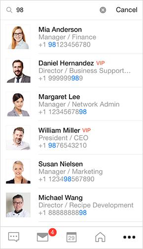 メンバーの氏名、メールアドレス、電話番号、組織名等で検索