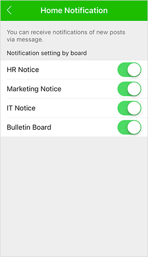 Notification settings by boards