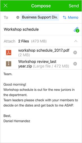 Sending/downloading large files, memo