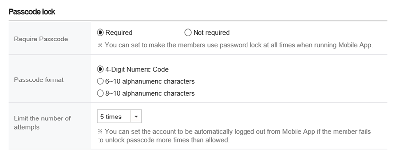 Mobile app security: password lock setting