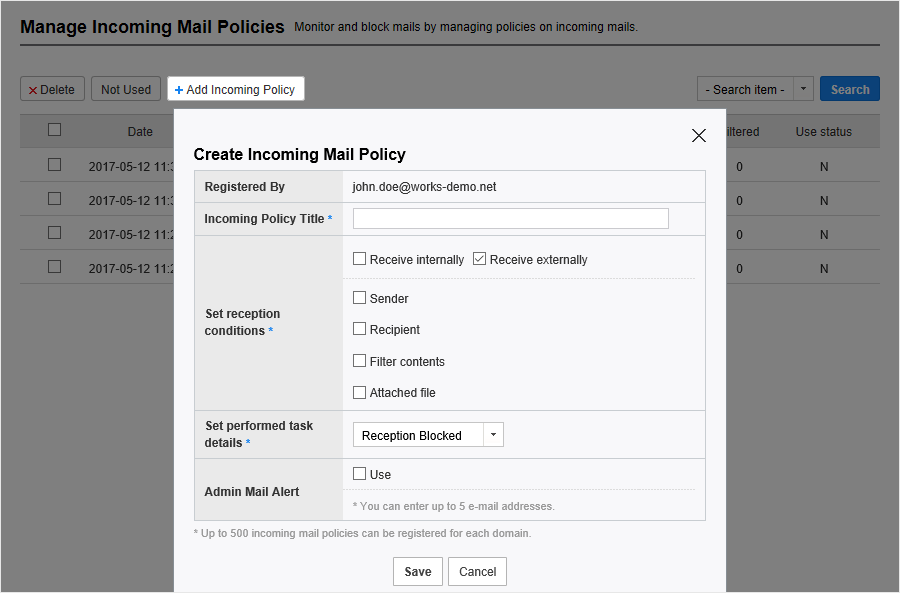 Create policy for incoming mail