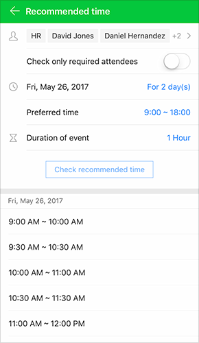 Check recommended time for your meeting