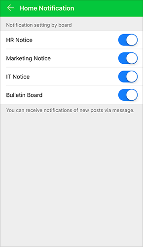 Notification settings for each board
